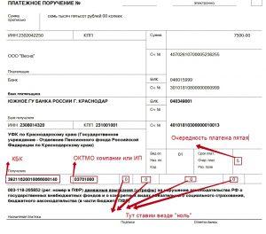 Образец платежного документа на оплату штрафа в ПФР